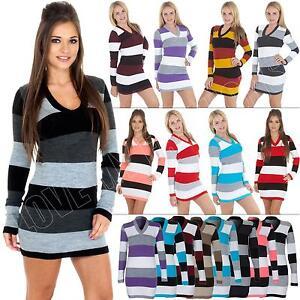 NEW-Womens-Ladies-Knitwear-Tunic-Stripe-Knitted-Jumper-Dress-size-8-14-S-M-L-XL
