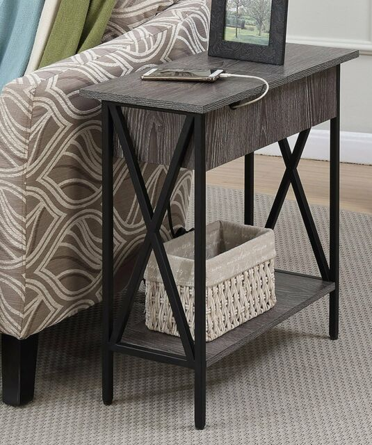 Beau USB Side Table With 2 Electric Ports Flip Top Accent Storage Organize End  Stand