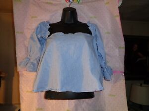 ce2a89e57321be  60 ZARA TRAFALUC Coll. knit OFF SHOULDER stripe crop blouse size XS ...