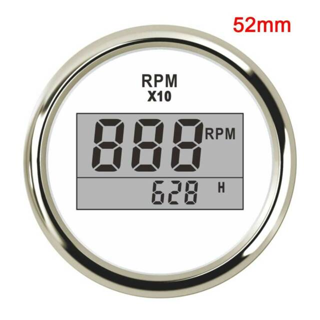 2 ELING Universal Digital Tachometer RPM REV Counter RPM with Hour Meter 52mm 9-32V with Backlight