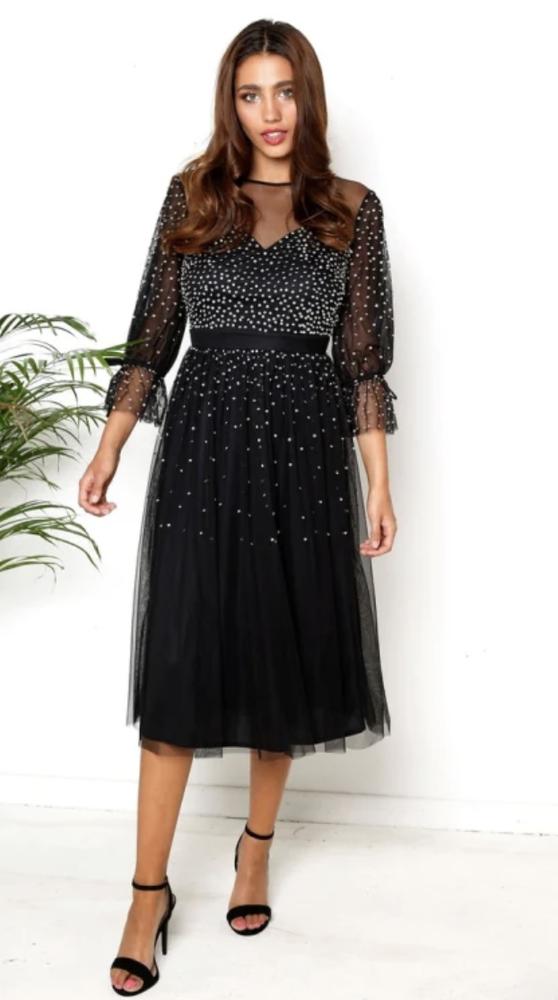 Bnwt Maya Deluxe Sequin Midi Dress-noir Uk 12 Rrp £ 95