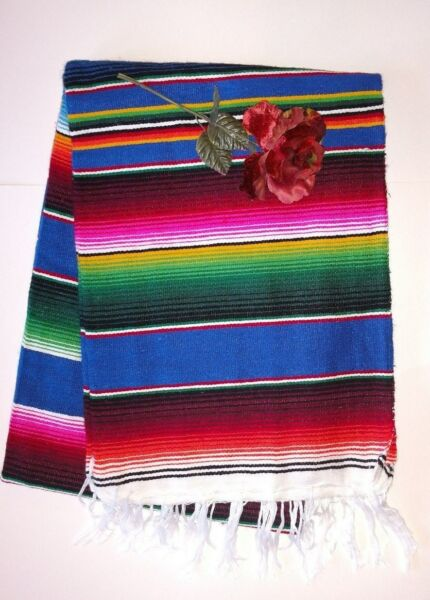 Competent Mexican Serape Blanket Deep Blue With Multicolored Striped & White Fringe Xl