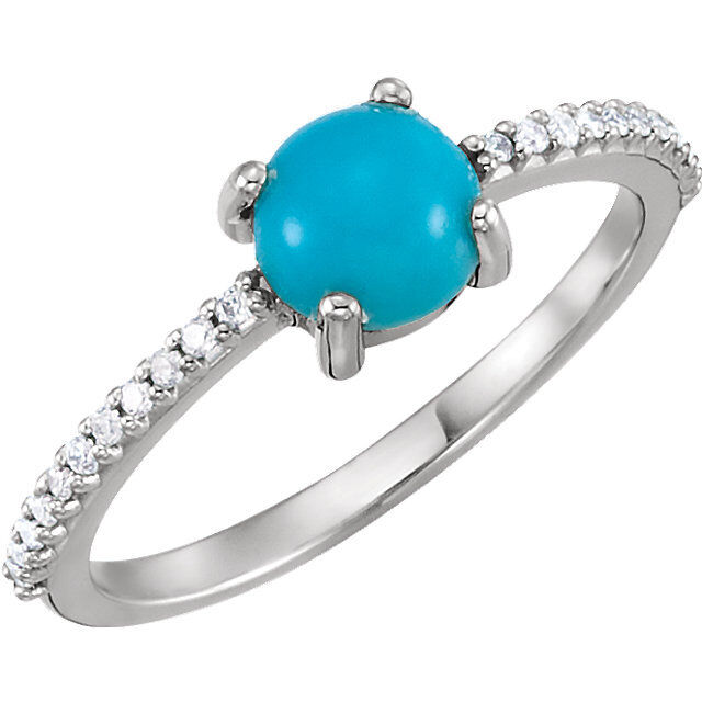 Cabochon Turquoise & 1 8 CTW Diamond Ring In 14K White gold