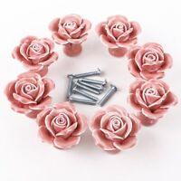 8pcs White/pink Ceramic Vintage Floral Rose Door Knobs Handle Drawer Kitchen + S on sale