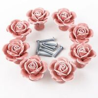 8pcs White/pink Ceramic Vintage Floral Rose Door Knobs Handle Drawer Kitchen + S on sale