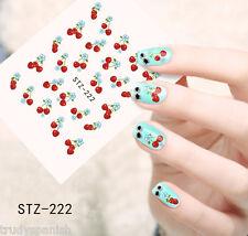 Nail Art Water Transfers Stickers Decals Sweet Cherries Cherry Gel Polish (222)