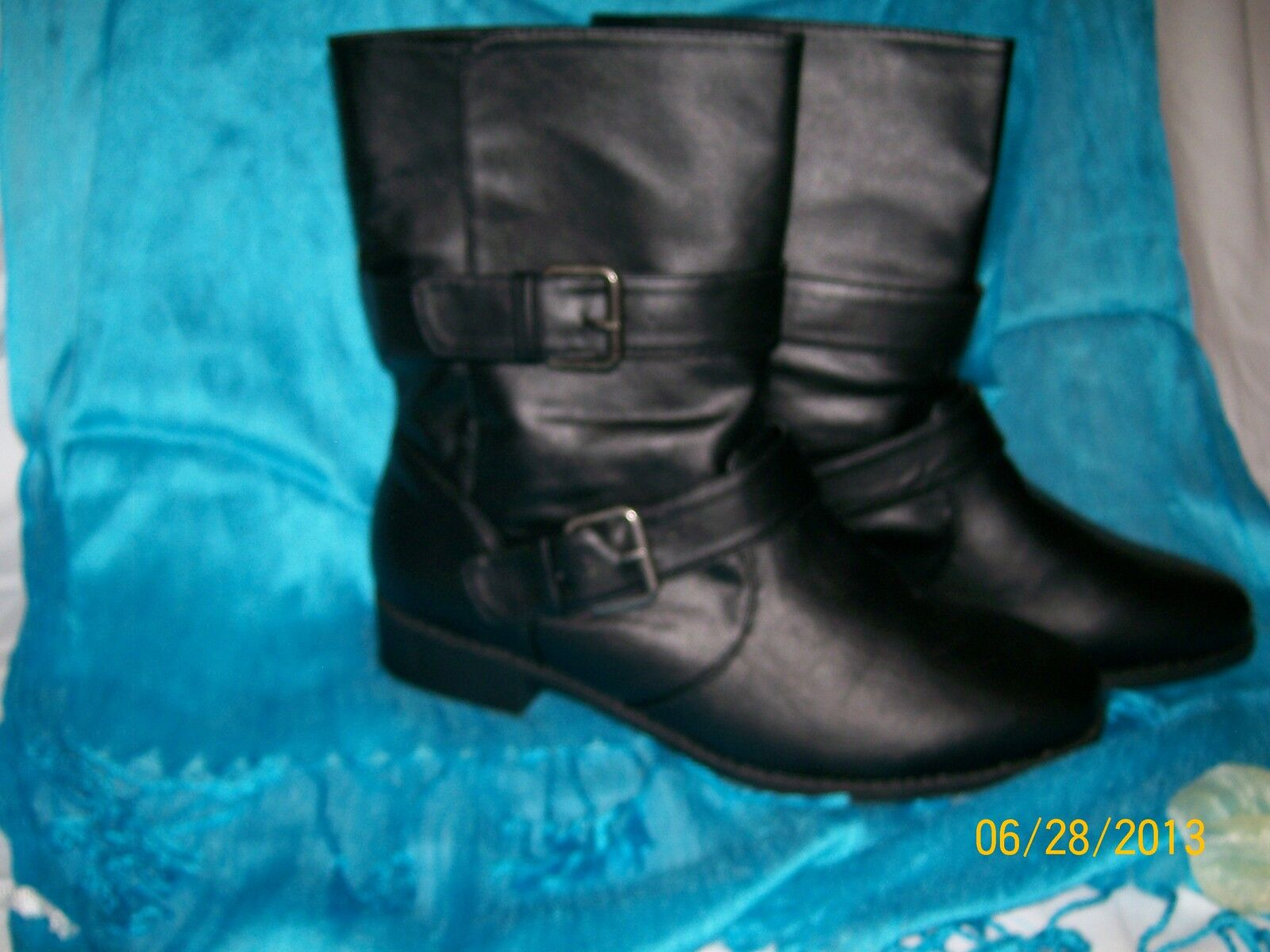 Moto botas-Negro-Inside Cojín-Cuero-Slip-on Cojín-Cuero-Slip-on Cojín-Cuero-Slip-on - Talla 8  venta de ofertas