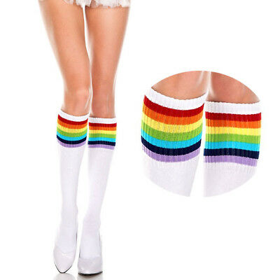 Opaque Solid Color Thigh Hi Acrylic Athletic Skater Socks Leg Warmers Costume OS