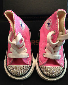 CONVERSE All-Star TODDLER Pink Hi-Top Crystal SWAROVSKI Custom  166f11ee18cf