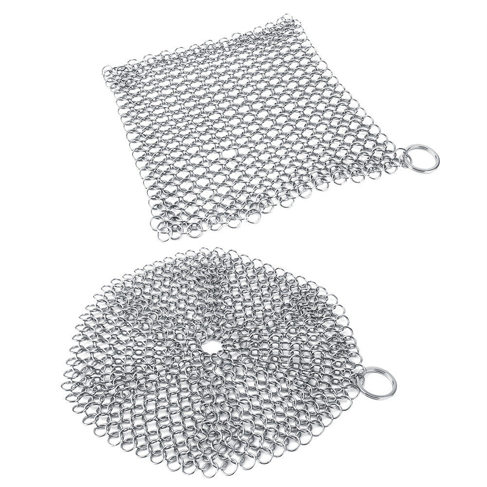 Stainless Steel Cast Iron Cleaner Chain Mail Scrubber Cookwa