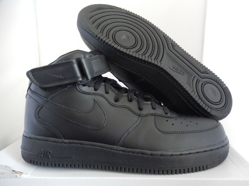 NIKE AIR FORCE 1 MID 07 TRIPLE Noir Homme  Chaussures de sport pour hommes et femmes
