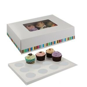 12-Tasse-fenetre-cupcake-box-Fee-Gateau-Support-Muffin-Pod-Case-avec-insert