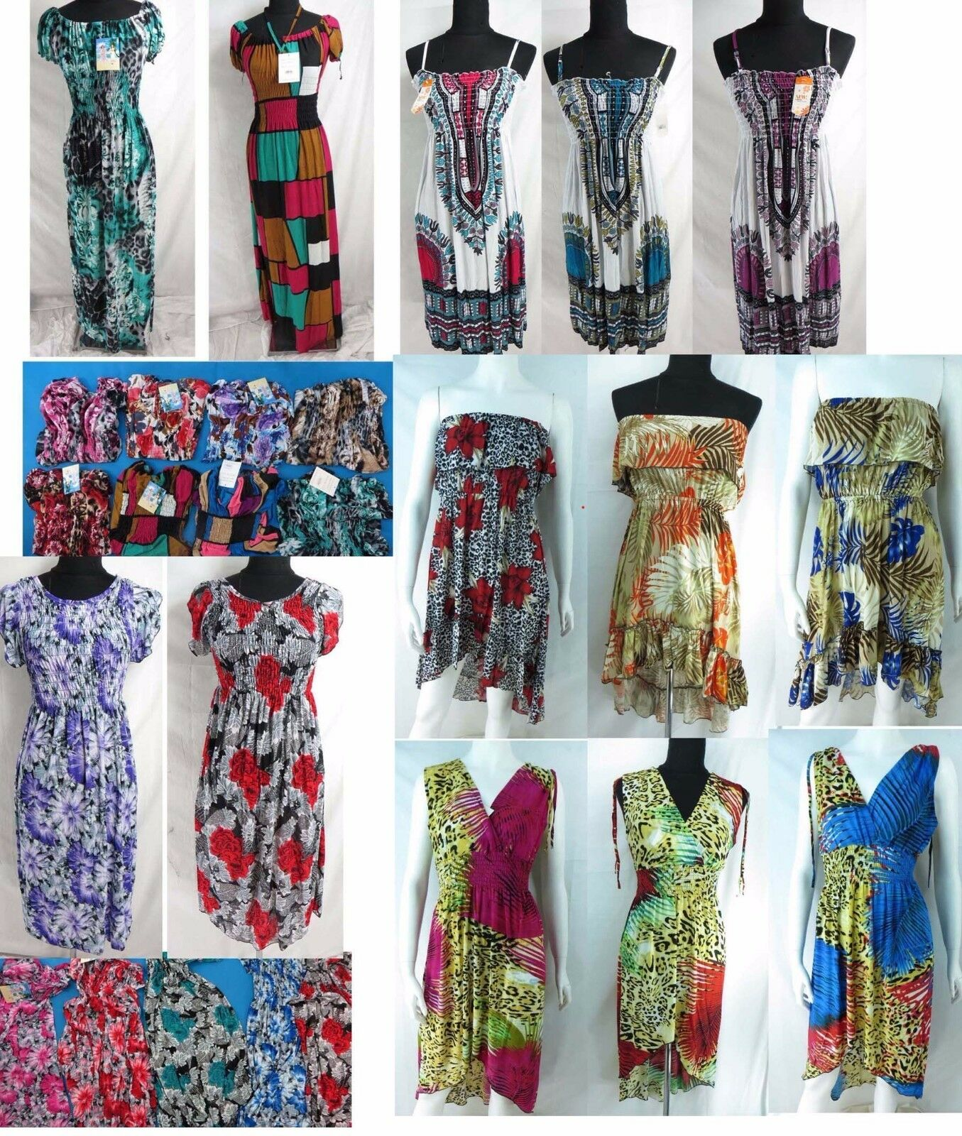 US SELLER-lot of 10 wholesale bulk short dress bohemian sundress long dress
