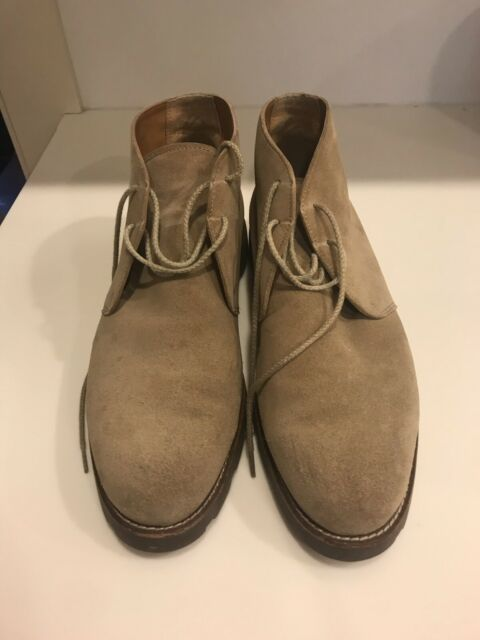 Polo Ralph Lauren Camel Brown Suede Leather Lace Up Bootie Shoes Men's 10.5D