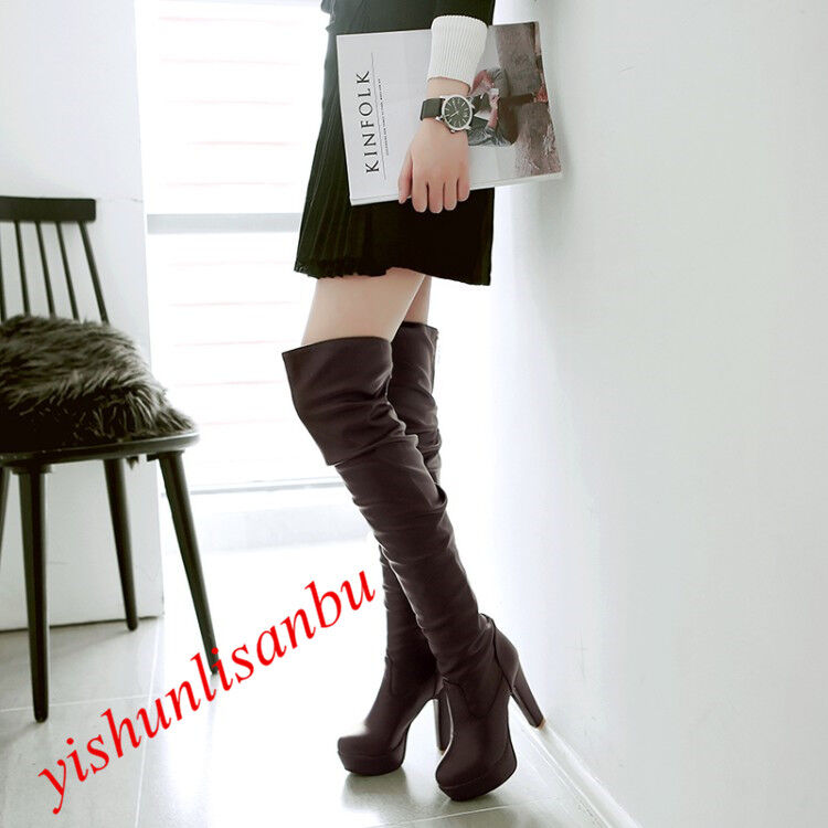 Womens Over The Knee High Long Boots High Heel Platform Round Toe Zip shoes hot