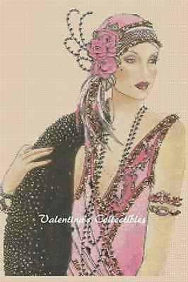 Counted Cross Stitch ART DECO LADY in Pink Dress - COMPLETE KIT #13vc-95 KIT
