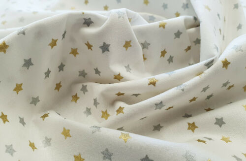 Christmas Fabric ~ Metallic Silver /& Gold Stars on White ~ Cotton Craft Material