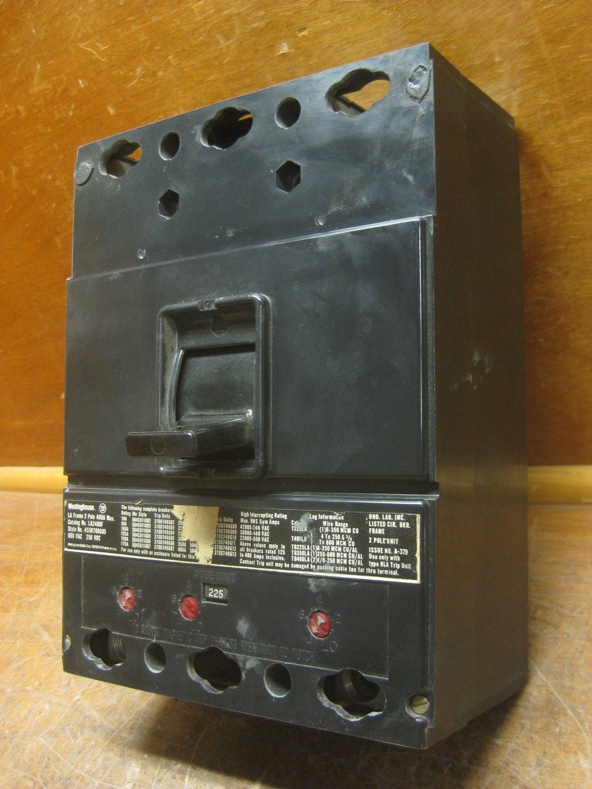 Westinghouse la2400f 400a 400a 400a Circuit Breaker 225 A Viaje la2225 Cutler-hammer 400 Amp 9ce8cc