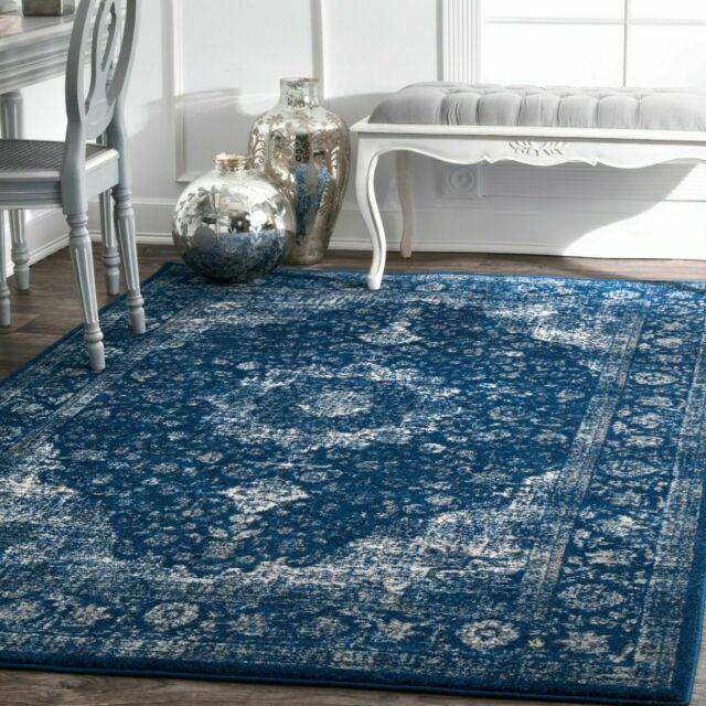 nuLOOM Traditional Oriental Distressed Area Rug in Dark Blue for ...