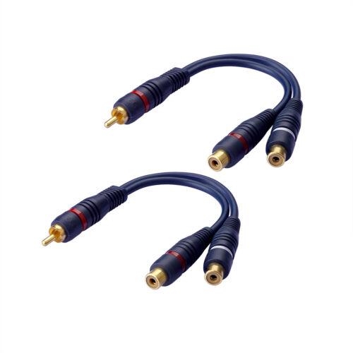 2x Premium Cinch Y-Kabel Subwooferkabel Adapter Verteiler Cinch RCA Audio Kabel