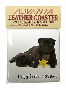 Personalised-Name-Black-Pugs-Single-Leather-Photo-Coaster-Animal-Br-AD-P91DA2SC
