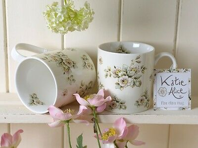 Set of 2 KATIE ALICE Cottage Flower CREAM FLORAL Shabby Chic MUGS