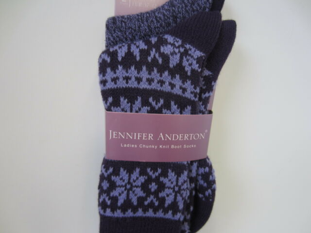 Ladies Jennifer Anderton Chunky Knit Boot Socks Pack of 2 The Style  SOLTK01G1