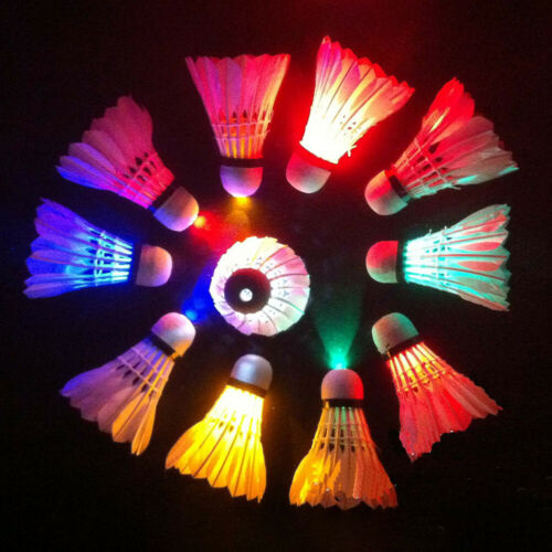1-6X LED Light-Up Badminton Shuttlecock Feather Dark Nigh Sport Outdoor Novelty