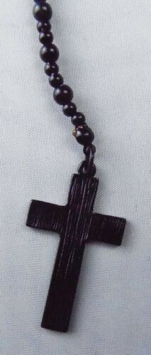 Black String Bead Necklace with Cross Pendant