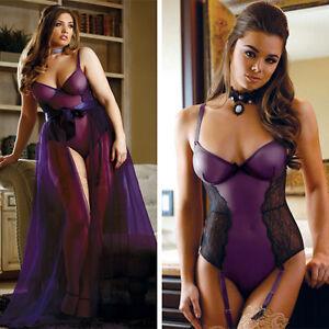 Sheer-Purple-Teddy-Black-Lace-Wire-Bra-Top-Boudoir-Bodysuit-Garter-Lingerie-S-5X