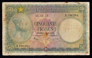 Belgian Congo  50  Francs  P-27a  1953  Prefix A