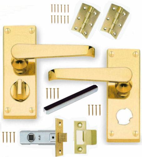 "Brass Flat Privacy//WC//Toilet Door Handles 114mm SET+64mm Latch /& 3/"" Brass Hinges"