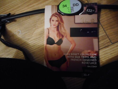 32E  MARKS /& SPENCERS ROSIE BLACK PADDED BALCONY  UNDERWIRED BRA WITH SILK  NEW