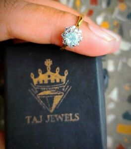 Yellow Gold Plated Over 925 Silver Natural Aquamarine Engagement/Wedding Ring