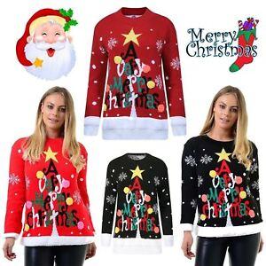 informazioni per d7df0 f5fdd Dettagli su NUOVA linea donna uomo retro Merry Christmas Tree Pom Pom  Maglione Unisex Novità Pullover- mostra il titolo originale