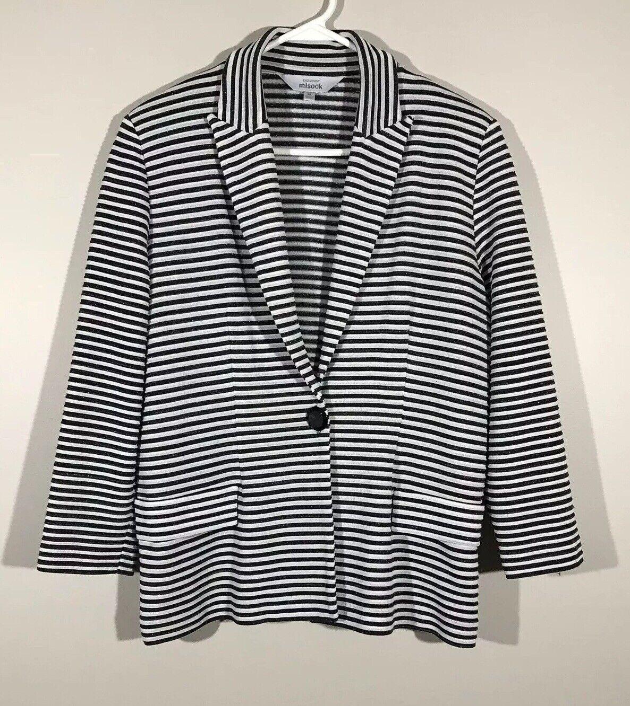 MISOOK damen Knit Blazer Jacket One-Button Metallic Accent Striped M