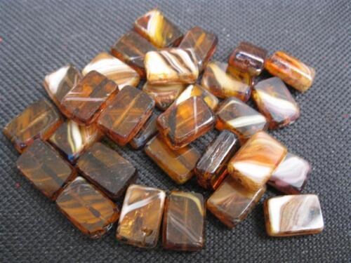 10 séquoia perles de verre marron beige 12x8mm 10066