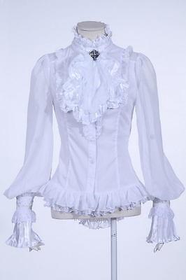 RQ-BL weiß Gothic Damen Bluse mit Kragen Fashion schwarz romantic WGT 2 Teilig