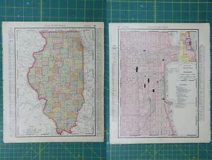 Illinois chicago vintage original 1895 rand mcnally world atlas map image is loading illinois chicago vintage original 1895 rand mcnally world gumiabroncs Gallery