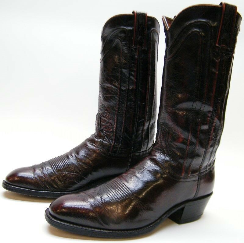 MENS VINTAGE DAN POST BURGUNDY LEATHER COWBOY WESTERN Stiefel SZ 8.51 2 D