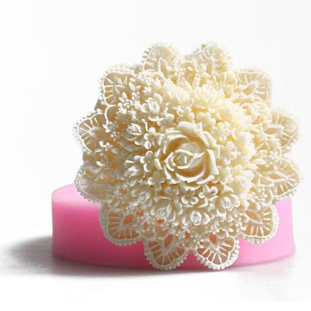 Round Lace Flower Silicone Fondant Mold Cake Decor Embosser Mat DIY Bake Mould