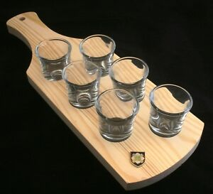 Scots Guards Shield Set Of 6 Shot Glasses With Wooden Paddle Tray Holder Iqkswa51-08004521-484406052