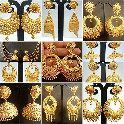 22k Gold Plated Indian Variation Diffe Earrings Jhumka Party Wedding Design Ebay