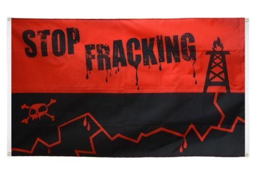 BALKONFLAGGE BALKONFAHNE Stop Fracking Flagge Fahne für den BALKON 90x150cm