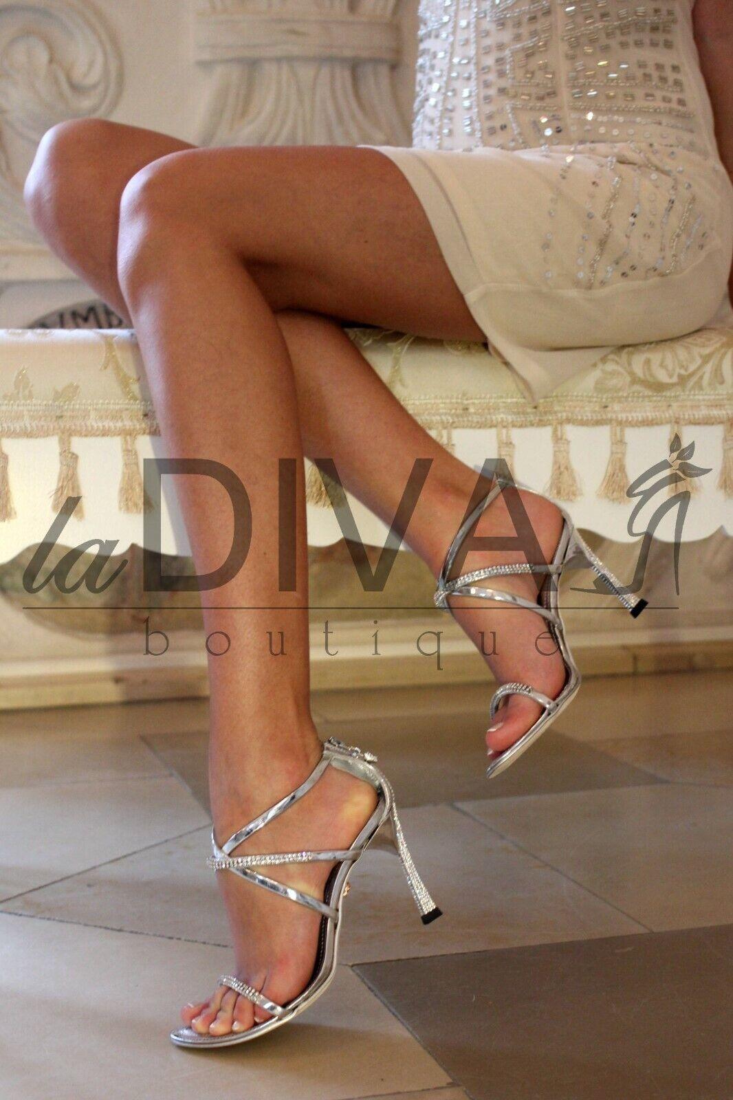 Alberto Venturini   Sandals Leather Rhinestone Heel 40 Silver% Sale% Ovp