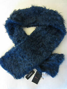 Paul-Smith-Ladies-Formal-Wear-StretchFur-Sheepskin-Scarf-Blue