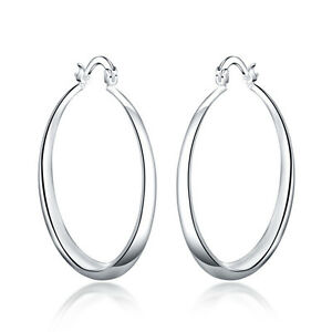 Silver-Fashion-Jewelry-Three-dimensional-Round-Sterling-Silver-Hoop-Earrings-TB