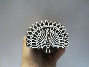 INDIAN WOODEN HAND CARVED TEXTILE PRINTING ON FABRIC BLOCK STAMP SMALL PEACOCK