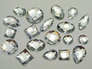 100-Clear-Color-Flatback-Acrylic-Rhinestone-Assorted-Shape-No-Hole