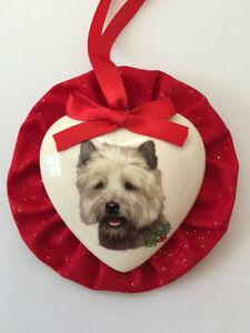 Cairn Terrier Dog Christmas Ornament, Heart Shaped | eBay